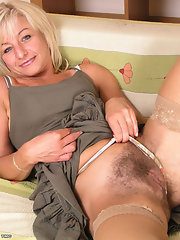 Hairy mature older stocking