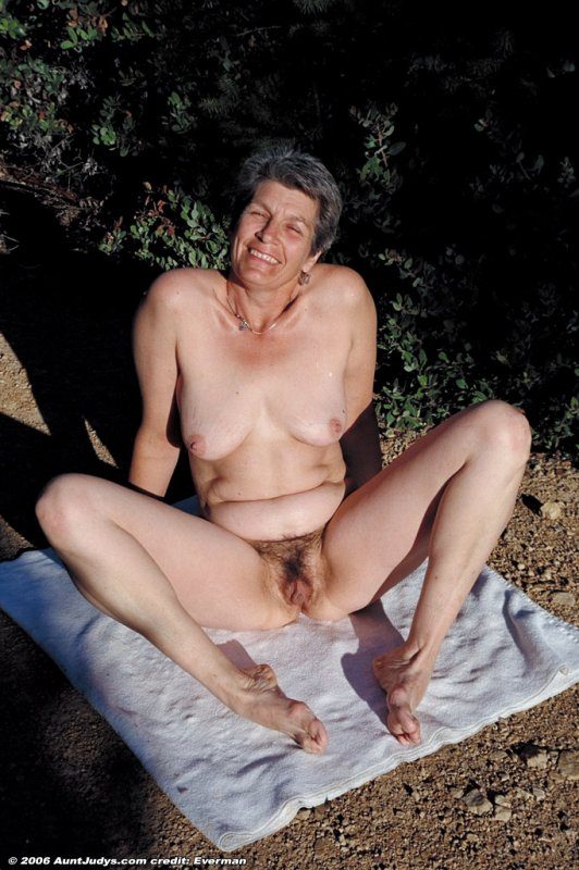 Nude grannies outside